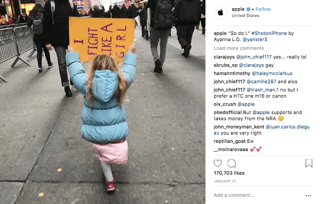 instagram engagement apple post