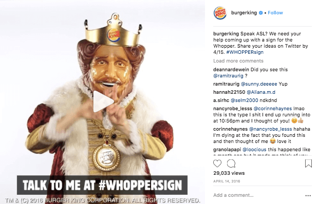 instagram engagement burger king post