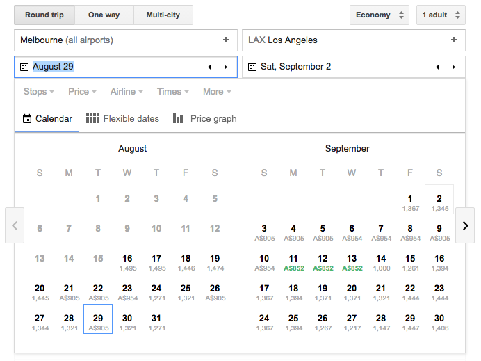Cheap flights with Google Flights