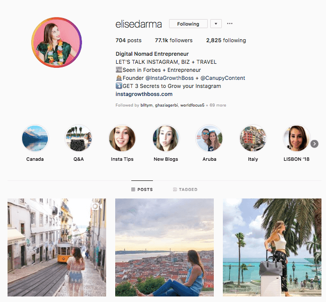 instagram engagement elise darma profile