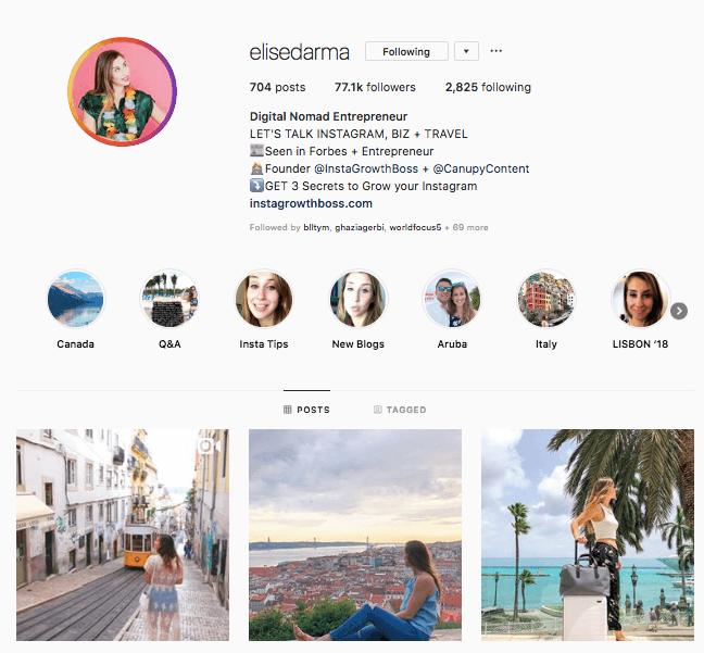 instagram engagement elise darma profile