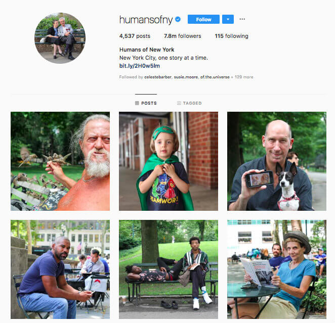instagram engagement humans on new york profile