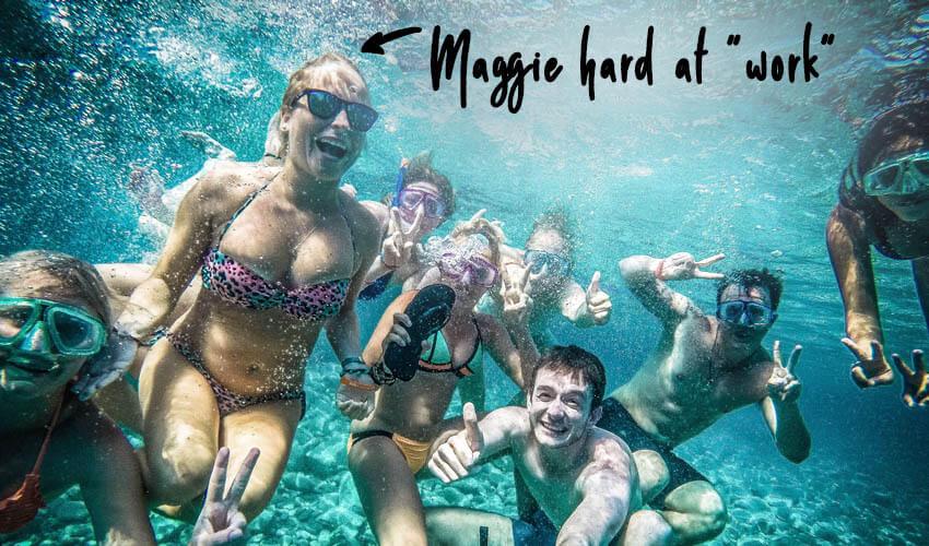 People under water smiling
