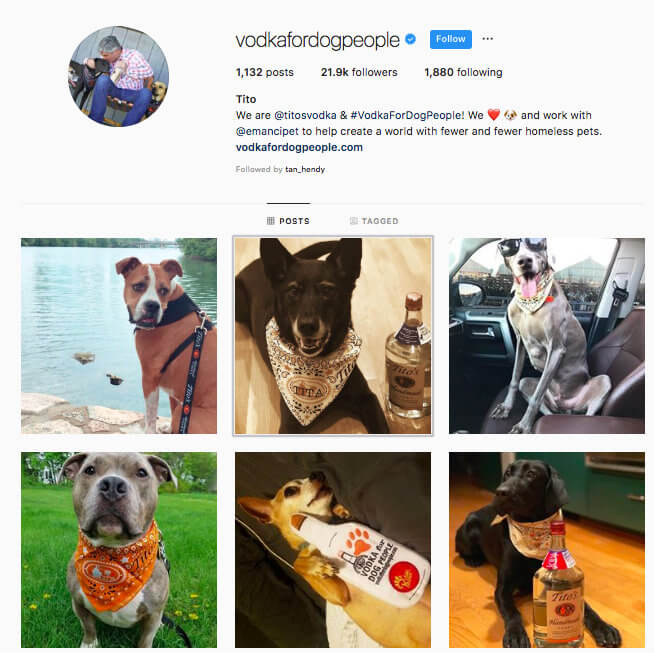 instagram engagement vodka for dog people profile